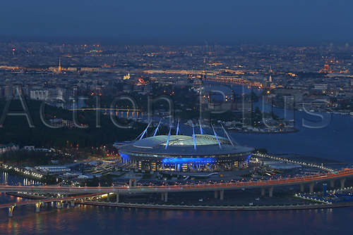 JUNE 15th 2017; Saint Petersburg, Russia;  An aerial view of Saint Petersburg Arena Stadium, a venue for the 2018 FIFA World Cup matches, at night.
