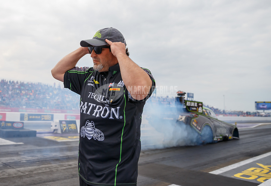 Apr 22, 2017; Baytown, TX, USA; Nick Boninfante, crew chief for NHRA funny car driver Alexis DeJoria during qualifying for the Springnationals at Royal Purple Raceway. Mandatory Credit: Mark J. Rebilas-USA TODAY Sports