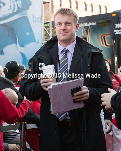 Scott Young (BU - Dir-Hockey Ops) - The teams walked the red carpet through the Fan Fest outside TD Garden prior to the Frozen Four final on Saturday, April 11, 2015, in Boston, Massachusetts.