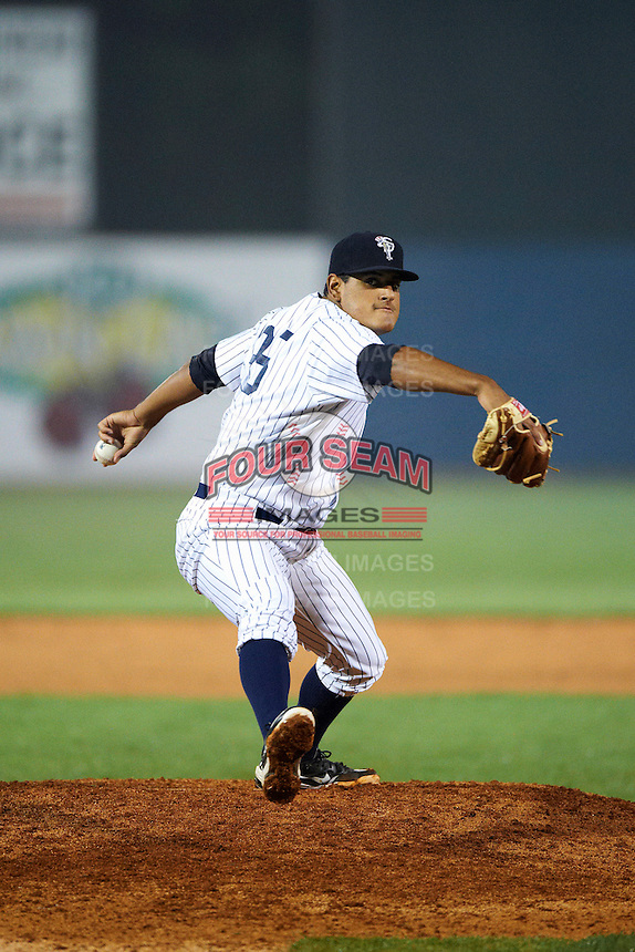 Staten Island Yankees pitcher James Pazos #35 during the NY-Penn League All-Star Game at Eastwood Field on August 14, 2012 in Niles, Ohio.  National League defeated the American League 8-1.  (Mike Janes/Four Seam Images)