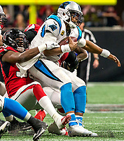 Photography of the Carolina Panthers v. The Atlanta  Falcons, Sunday afternoon, during their NFL game at the Mercedes- Benz Stadium in Atlanta, GA.<br /> <br /> Charlotte Photographer - PatrickSchneiderPhoto.com