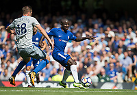 Ngolo Kante of Chelsea in action during the Premier League match between Chelsea and Everton at Stamford Bridge, London, England on 27 August 2017. Photo by Andy Rowland.