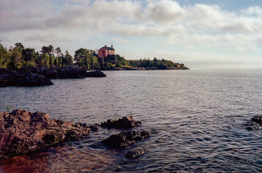 A summer morning view of the historic Marquette Harbor Lighthouse. Film: Kodak Ektar 100