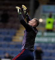 2nd February 2020; Turf Moor, Burnley, Lanchashire, England; English Premier League Football, Burnley versus Arsenal; Bernd Leno of Arsenal warms up before the game against Burnley - Strictly Editorial Use Only. No use with unauthorized audio, video, data, fixture lists, club/league logos or 'live' services. Online in-match use limited to 120 images, no video emulation. No use in betting, games or single club/league/player publications