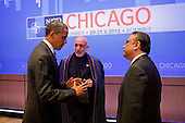 United States President Barack Obama speaks with President Hamid Karzai of Afghanistan, center, and President Asif Ali Zardari of Pakistan at the McCormick Place Convention Center during the NATO Summit in Chicago, Illinois, May 21, 2012. .Mandatory Credit: Pete Souza - White House via CNP