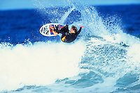 Shaun Brooks (AUS) surfing at his home break of Winki Pop, Bells Beach. circa 1992.Photo:joliphotos.com