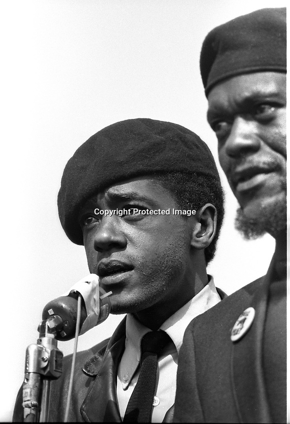 Black Panthers Bobby Seale and William Lee <br /> Brent at Panther Rally after Bobby Hutton funeral in Oakland, Ca. (1968 photo by Ron Riesterer)<br /> (copyright @1968)