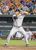 New York Yankees designated hitter Travis Hafner (33) bats in the ninth inning in the game against the Baltimore Orioles at Oriole Park at Camden Yards in Baltimore, Maryland on Monday, May 20, 2013.  Hafner subsequently homered to tie the game.  The Yankees won the game 6 - 4..Credit: Ron Sachs / CNP.(RESTRICTION: NO New York or New Jersey Newspapers or newspapers within a 75 mile radius of New York City)