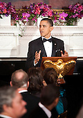 United States President Barack Obama speaks at the start 2011 Governors Dinner at the White House in Washington, D.C., U.S., on Sunday, February 27, 2011..Credit: Joshua Roberts / Pool via CNP