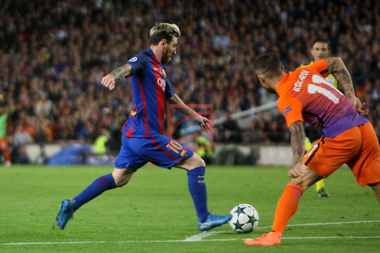 UEFA Champions League 2016/2017 - Matchday 3.<br /> FC Barcelona vs Manchester City FC: 4-0.<br /> Lionel Messi vs Aleksandar Kolarov.