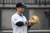 Center fielder Quinn Brodey (2) of the Columbia Fireflies warms up before a game against the Augusta GreenJackets on Saturday, April 7, 2018, at Spirit Communications Park in Columbia, South Carolina. Augusta won, 6-2. (Tom Priddy/Four Seam Images)