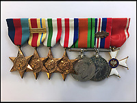 BNPS.co.uk (01202 558833)Pic: Spink&amp;Son/BNPS<br /> <br /> Left to right: 1939-45 Star / Africa Star / Italy Star / France and Germany Star / Defence Medal 1939-45 / War Medal 1939-45, the final award on the wearing bar is a breast badge of the Order of Poland Restituta.<br /> <br /> Fifty medals and honours which were awarded to the legendary late actor Sir Christopher Lee have emerged for sale.<br /> <br /> During his glittering 70 year career, the acting behemoth graced our screens as Lord Summerisle in the The Wicker Man, Count Dracula in the Hammer films and Saruman in the Lord of the Rings trilogy.<br /> <br /> Other memorable roles included Scaramanga in the James Bond film The Man with the Golden Gun and Count Dooku in Star Wars. <br /> <br /> But before he found fame he served his country as a young RAF officer in the Second World War, earning mentions in despatches for gallant and distinguished service.