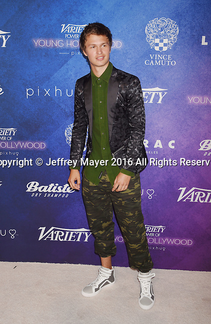 HOLLYWOOD, CA - AUGUST 16: Actor Ansel Elgort  arrives at Variety's Power Of Young Hollywood at NeueHouse Hollywood on August 16, 2016 in Los Angeles, California.