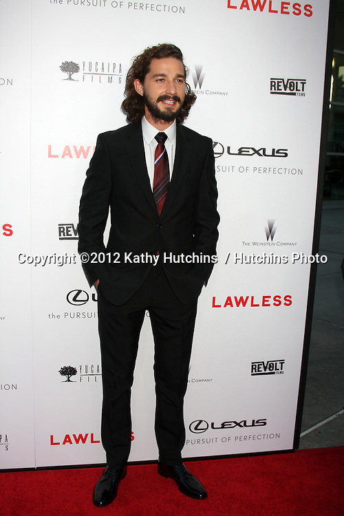 """LOS ANGELES - AUG 22:  Shia LaBeouf arrives at the """"Lawless"""" LA Premiere at ArcLight Theaters on August 22, 2012 in Los Angeles, CA"""