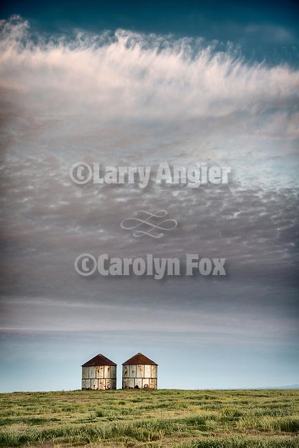 Abandoned grain storage tanks, R C Ranch, Panorama Hills, Carrizo Plain National Monument, San Luis Obispo County, Calif.