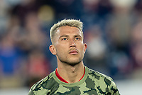 FOXBOROUGH, MA - AUGUST 24: Francisco Calvo #5 of Chicago Fire during a game between Chicago Fire and New England Revolution at Gillette Stadium on August 24, 2019 in Foxborough, Massachusetts.