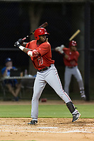 AZL Angels right fielder Trent Deveaux (17) at bat during an Arizona League game against the AZL Dodgers at Camelback Ranch on July 8, 2018 in Glendale, Arizona. The AZL Dodgers defeated the AZL Angels by a score of 5-3. (Zachary Lucy/Four Seam Images)