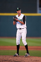 Dayton Dragons pitcher Jake Paulson (17) gets ready to deliver a pitch during a game against the Great Lakes Loons on May 21, 2015 at Fifth Third Field in Dayton, Ohio.  Great Lakes defeated Dayton 4-3.  (Mike Janes/Four Seam Images)