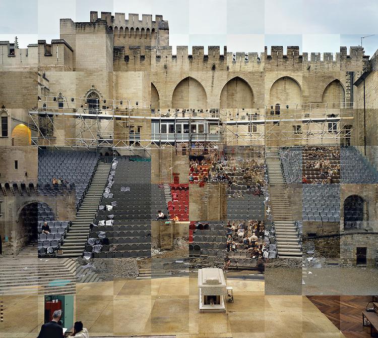 St&eacute;phane Couturier<br /> S&eacute;rie Melting Point, Avignon <br /> Palais des Papes, Cour d'honneur, Papperlapapp de Christoph Marthaler<br /> Photo n&deg; 3, 2010&ndash;2011<br /> Avec l&rsquo;aimable autorisation de l&rsquo;artiste et du Centre National des Arts Plastiques.<br /> -----<br /> St&eacute;phane Couturier<br /> Melting Point series, Avignon<br /> Palais des Papes, Cour d'Honneur, Papperlapapp by Christoph Marthaler<br /> Photo no. 3, 2010&ndash;2011<br /> Fnac 2011-125<br /> Courtesy of the artist and the Centre national des arts plastiques.