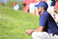 Tiger Woods (Vice-Captain Team USA) watching the play during Saturday afternoon Fourball at the Ryder Cup, Hazeltine National Golf Club, Chaska, Minnesota, USA.  01/10/2016<br /> Picture: Golffile | Fran Caffrey<br /> <br /> <br /> All photo usage must carry mandatory copyright credit (&copy; Golffile | Fran Caffrey)