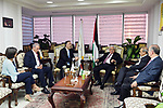 Palestinian President Mahmoud Abbas, visits the Palestinian Radio and Television in the West Bank of Ramallah on July 22, 2018. Photo by Thaer Ganaim