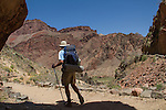 Backpackers on the Bright Angel Trail along the Colorado River, Grand Canyon National Park, Arizona .  John leads hiking and photo tours throughout Colorado. .  John leads hikes and private photo tours in Boulder and throughout Colorado. Year-round. . John offers private photo tours in Grand Canyon National Park and throughout Arizona, Utah and Colorado. Year-round.