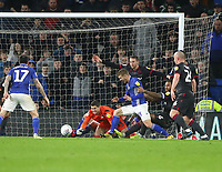 31st January 2020; Cardiff City Stadium, Cardiff, Glamorgan, Wales; English Championship Football, Cardiff City versus Reading; Players from Reading and Cardiff City scramble for the loose ball from a corner