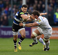Jeff Williams of Bath Rugby takes on the Exeter Chiefs defence. West Country Challenge Cup match, between Bath Rugby and Exeter Chiefs on October 10, 2015 at the Recreation Ground in Bath, England. Photo by: Patrick Khachfe / Onside Images