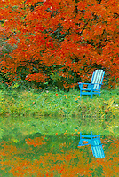 Blue painted Adirondak chair next to lake in fall