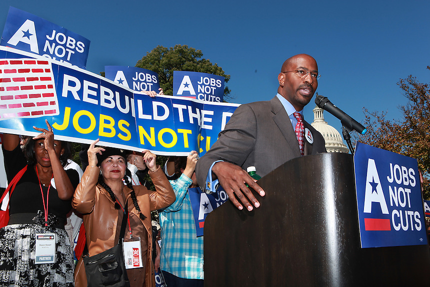 (111005RREI9538) Van Jones address the rally. Rebuild the Dream Rally for Jobs not Cuts at the U. S. Capitol. About 300 people participated. Washington DC Oct. 5, 2011  © Rick Reinhard 2011