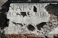 Inscriptions that were attached to the upper part of the Porta Romana, late 1st century AD, Ostia Antica, Italy. Picture by Manuel Cohen