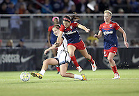 Boyds, MD - Saturday May 07, 2016: Washington Spirit forward Cali Farquharson (17) tackles Portland Thorns FC midfielder Lindsey Horan (7) during a regular season National Women's Soccer League (NWSL) match at Maureen Hendricks Field, Maryland SoccerPlex. Washington Spirit tied the Portland Thorns 0-0.