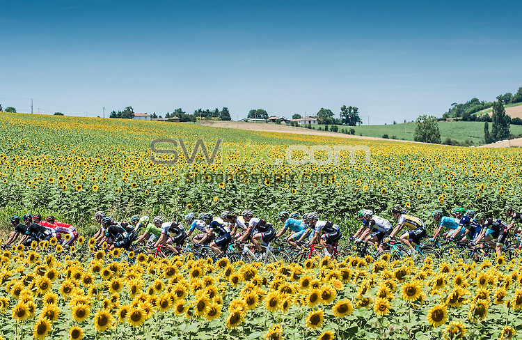 Picture by Alex Broadway/ASO/SWpix.com - 08/07/16 - Cycling - Tour de France 2016 - Stage Seven - L'Isle-Jourdain to Lac de Payolle - The Pelotonrides through the French countryside.<br /> NOTE : FOR EDITORIAL USE ONLY. COMMERCIAL ENQUIRIES IN THE FIRST INSTANCE TO simon@swpix.com THIS IS A COPYRIGHT PICTURE OF ASO. A MANDATORY CREDIT IS REQUIRED WHEN USED WITH NO EXCEPTIONS to ASO/ALEX BROADWAY