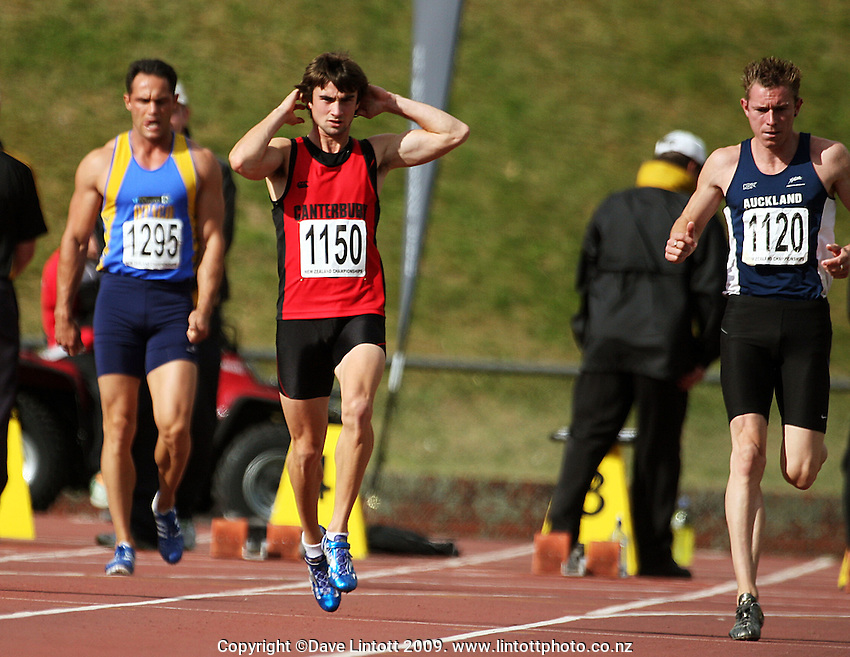 Canterbury's David Ambler (centre) makes a false start in the men's 100m final during the National athletics championships at Newtown Park, Wellington, New Zealand on Friday, 27 March 2009. Photo: Dave Lintott / lintottphoto.co.nz