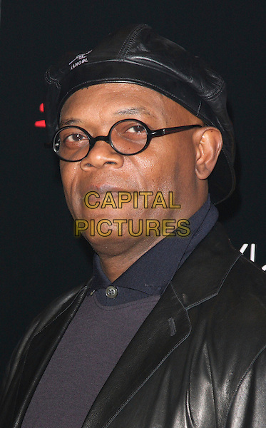 "SAMUEL L. JACKSON.At the launch party for ""The Spirit"" at the The Old Sorting Office in London, England, December 4th 2008..portrait headshot black Kangol hat cap round frame glasses leather jacket blue .CAP/ROS.©Steve Ross/Capital Pictures"
