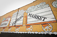 A graffiti advertising the Detroit Eastern Farmers market is seen in Detroit (Mi) Saturday June 8, 2013. The largest open-air flowerbed market in the United States, the Eastern Market is a historic commercial district in Detroit, Michigan.