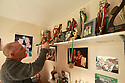 """TO GO WITH SPORTS STORY BY Don McRae. Belfast Boxer Eamonn Magee """"Trophys Room' in mothers home which still contains his boxing trophys on shelves in his old bedroom. 01/05/2018 Photo/Paul McErlane"""