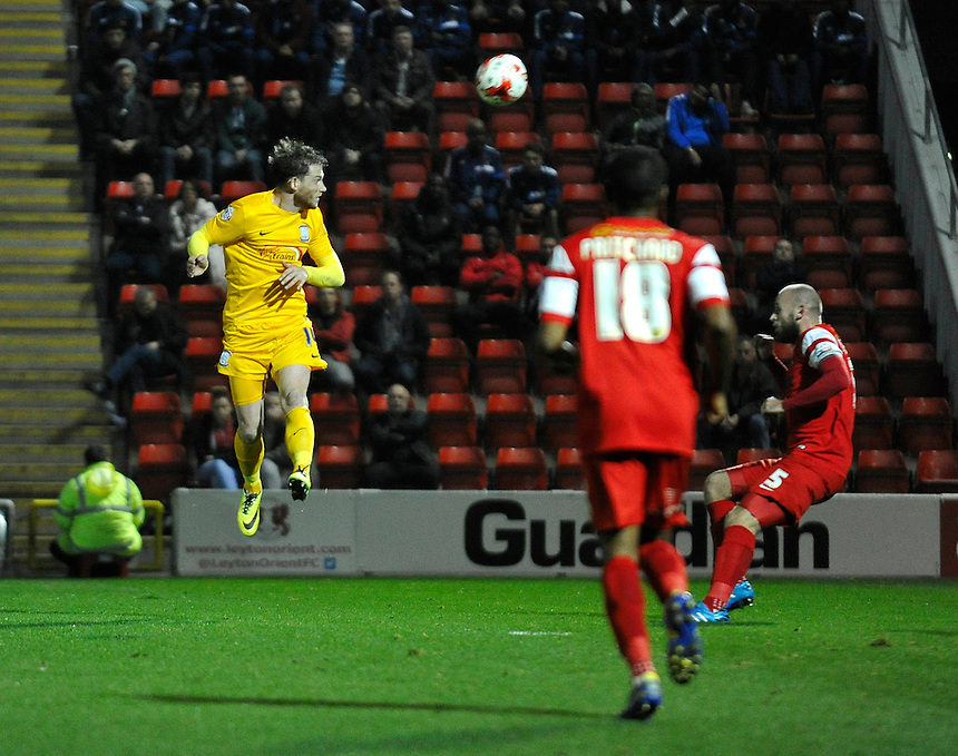 Preston North End's Joe Garner in action during the match at Leyton Orient<br /> <br /> Photographer Ashley Western/CameraSport<br /> <br /> Football - The Football League Sky Bet League One - Leyton Orient v Preston North End - Tuesday 28th October 2014 - Matchroom Stadium - London<br /> <br /> &copy; CameraSport - 43 Linden Ave. Countesthorpe. Leicester. England. LE8 5PG - Tel: +44 (0) 116 277 4147 - admin@camerasport.com - www.camerasport.com