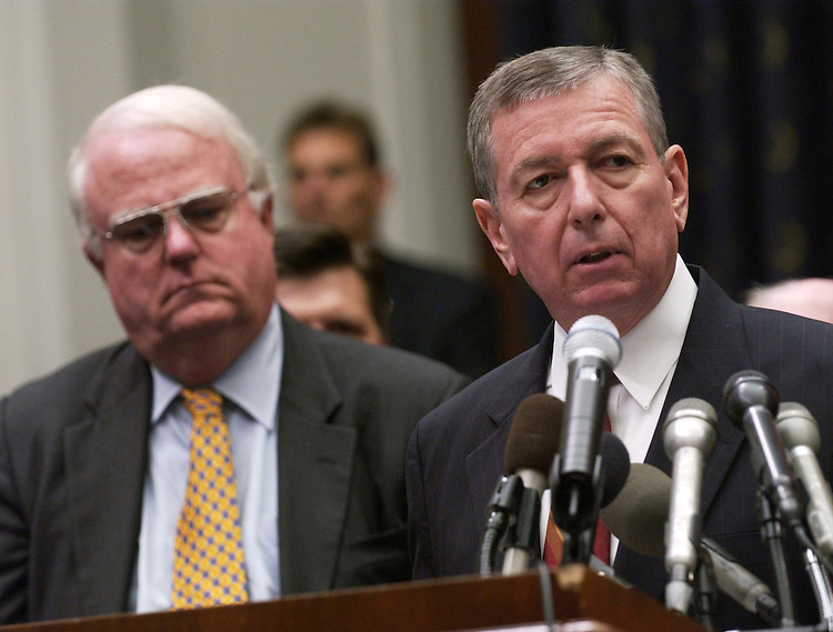 7/13/04.PATRIOT ACT--House Judiciary Chairman F. James Sensenbrenner Jr., R-Wis., and U.S. Attorney General John Ashcroft during a news conference on the Justice Department report on the Patriot Act..CONGRESSIONAL QUARTERLY PHOTO BY SCOTT J. FERRELL.