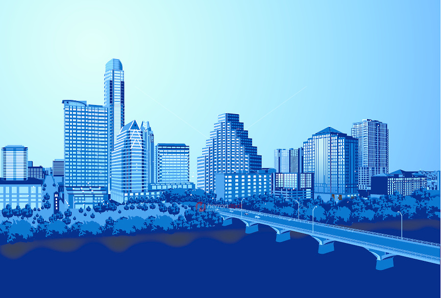 New Austin Skyline illustration graphic at Dusk as Bat Watchers gather on the Congress Avenue Bridge.