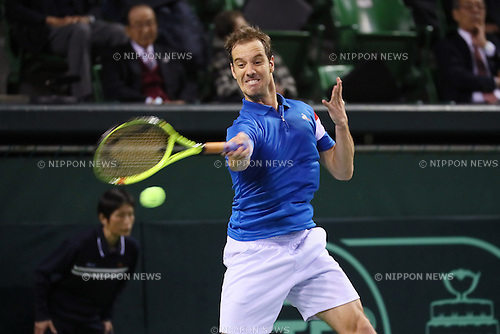 Richard Gasquet (FRA), <br /> FEBRUARY 3, 2017 - Tennis : <br /> 2017 Davis Cup World Group First Round <br /> between Japan - France <br /> at Ariake Coliseum, Tokyo, Japan. <br /> (Photo by YUTAKA/AFLO SPORT)