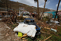 Damage caused by Hurricane Irma in Road Town, on the British Virgin Island of Tortola, 12 September 2017.