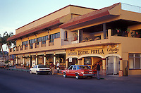 Taxi drivers in front of the Hotel Perla and La Terraza restaurant in the city of La Paz, Baja California Sur, Mexico
