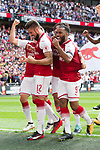 Olivier Giroud of Arsenal and Alexandre Lacazette of Arsenal after the The FA Community Shield match at Wembley Stadium, London. Picture date 6th August 2017. Picture credit should read: Charlie Forgham-Bailey/Sportimage