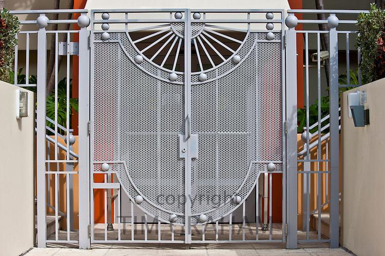 Modern architecture metal gates at Miami's Art Deco Miami South Beach resort, Florida USA