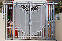 Modern architecture metal gates at Miami's Art Deco Miami South Beach resort, Florida USA