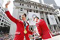 (L-R) Kosuke Hagino, Takeshi Matsuda (JPN), OCTOBER 7, 2016 : Japanese medalists of Rio 2016 Olympic and Paralympic Games wave to spectators during a parade from Ginza to Nihonbashi, Tokyo, Japan. (Photo by AFLO SPORT)