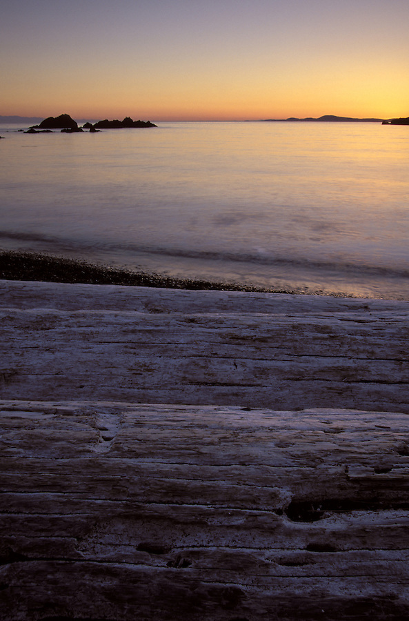 Sun setting over driftwood, Deception Pass State Park, Fidalgo Island, Washington