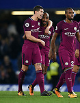 John Stones of Manchester City celebrates with team mate Fernandinho of Manchester City at the end of the premier league match at the Stamford Bridge stadium, London. Picture date 30th September 2017. Picture credit should read: Robin Parker/Sportimage
