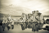 South Tufa formation and reflection on Mono Lake in early morning